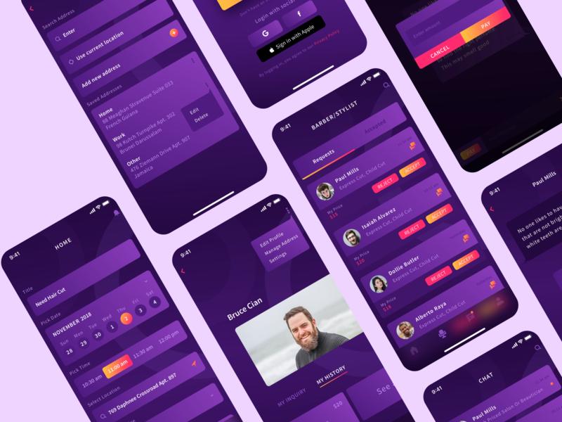 Open Chair App Screens wvelabs branding app design uiux ui app design uidesign development los angeles gradient