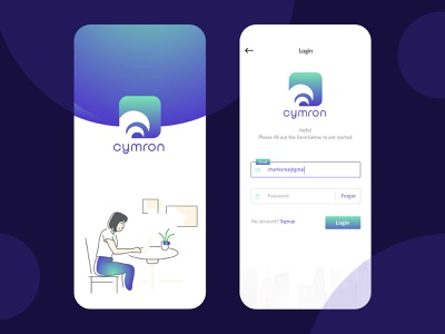 """Cymron"" Job Portal App Splash + Login Screen Design jobs jobportal navy blue blue app design app design gradient los angeles launch screen splashpage splash screen splashscreen login design login login form login page login screen appdesign wvelabs"