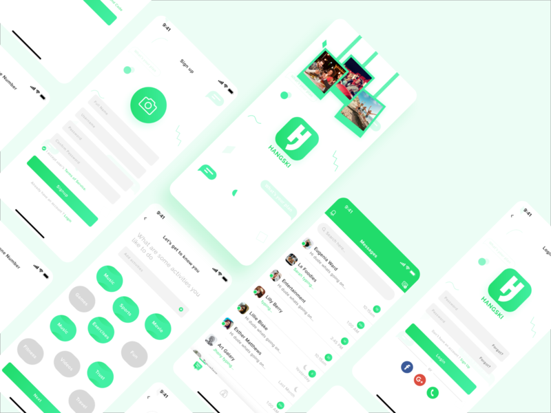 Hangski - Hang with Friends! App Screen families hang ui design ui  ux socialmedia social network social app friends family branding wvelabs uiux uidesign ios app los angeles development design gradient