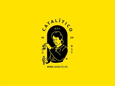 Badge - Cataliti.co reactive chemical women black yellow icon typography logo vector adobexd figmadesign branding design