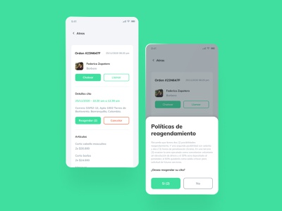 App - Barber booking user userinterface policy processing data appointment booking cancel popup green layout order adobexd figmadesign ui ux uiux mobile app mobile ui ui