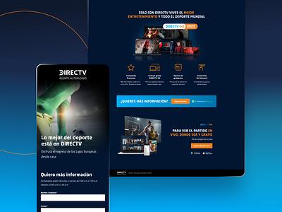 Landing - DirecTV Contacta forms movies football soccer sports tv blue layout feature form uiux webdesign ux design figmadesign adobexd ui