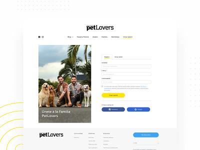 Log in - Petlovers Mag cat pet magazine dog popup layout webdesign ux uiux design figmadesign adobexd ui login screen login form register