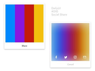 DailyUI 010 Social Share colour scheme sharing share social simple color scheme ui dailyui