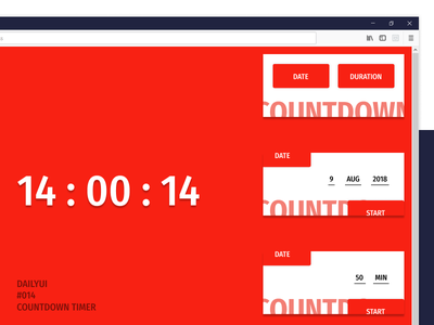 DailyUI 014 Countdown Timer ui simple web browser ux browser extension minimalist bold white red