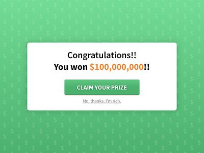 DailyUI 016 Popup Overlay overlay pop up button design ui scam spam money green win