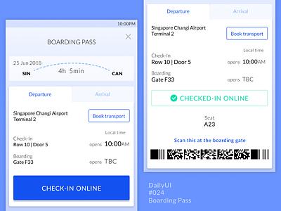 DailyUI 024 Boarding Pass simple clean lato ux ui data information flight check-in app mobile
