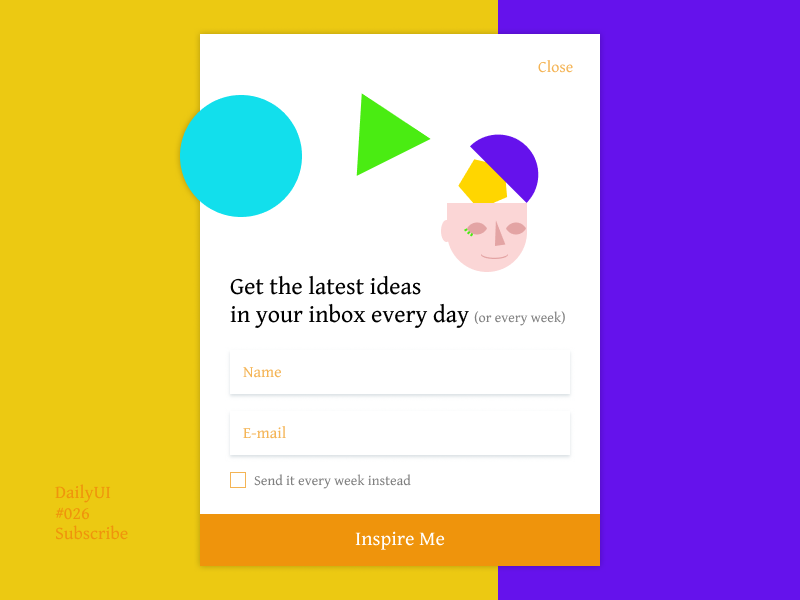 DailyUI 026 Subscribe newsletter gentium book purple orange colorful colourful illustration simple ui dailyui subscribe