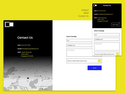 DailyUI 028 Contact Us minimalist simple brutalism contact dailyui ui mobile web responsive form