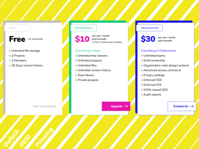DailyUI 030 Pricing brutalism nunito bold colorful subscription pricing pop ui flat colourful dailyui