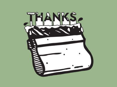 A screen-printed 'thanks' to you