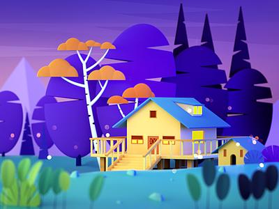 Forest Lodge c4d design ui 插图