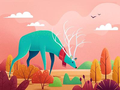 autumn 秋天 季节 生物 风景 插图