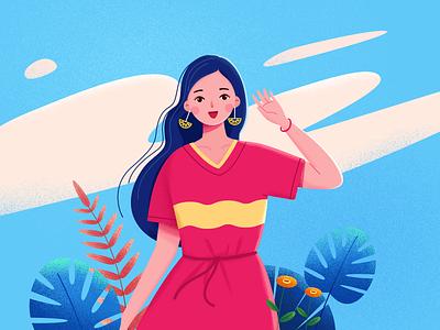 girl 人物设计 少女 女孩 红色 人物 插图