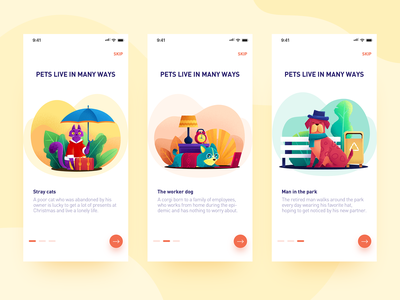 The lives of pets 狗狗 猫 宠物 design ui 插图