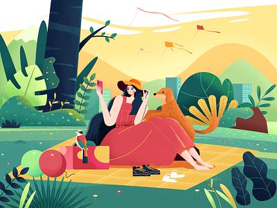 公园游玩 nature 郊外 公园 宠物 女孩 人物 风景 插图