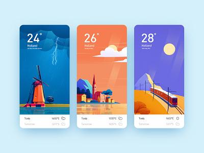 天气卡片 城市 卡片 天气 风景 插图