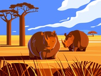 Grazing rhinoceros
