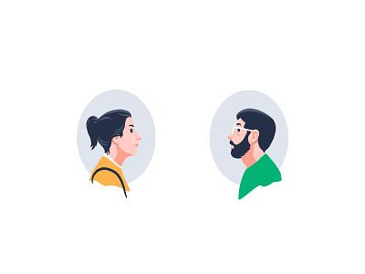 Pair glasses beard pair couple portrait character illustration