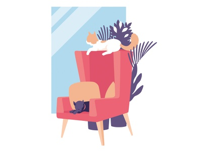 Pirate & Chomsky armchair furniture chill room plants animals illustration ambient cats