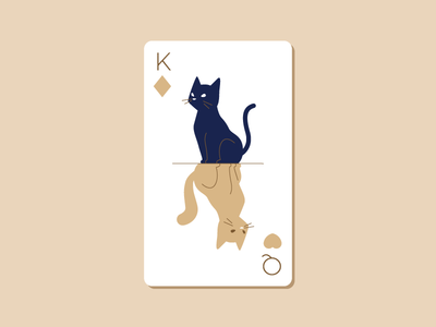 Pirate & Chomsky II heart diamond king queen illustration cat playing card deck card