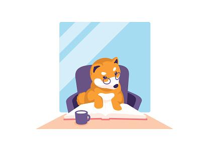Momo story character fable dog shiba not work illustration