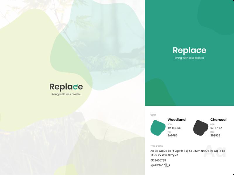 "Replace ""living with less plastic"" - Logo Design icon logo logotype logodesign flat vector design branding"