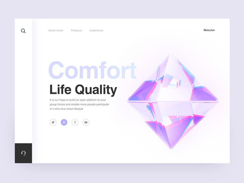 Smart Home Page Design 03 brand typography branding design web color smarthome c4d 3d