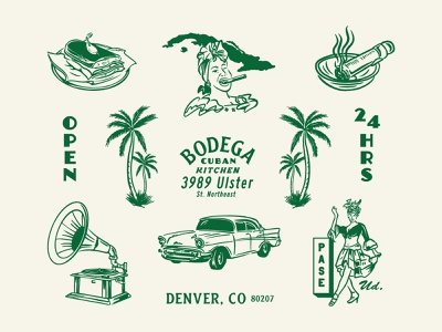 Bodega Cuban Kitchen denver font typography food cuba cuban beer badge logo brand identity identity graphic design adobe illustration design branding palm restaurant