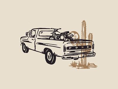 Camioneta cactus enduro desert texas restaurant mototcycles graphic design brand identity illustration design branding