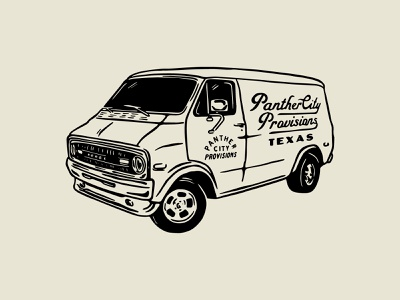 Van Panther City vector print art vintage van brand western texas logo illustration adobe brand identity badge graphic design design branding