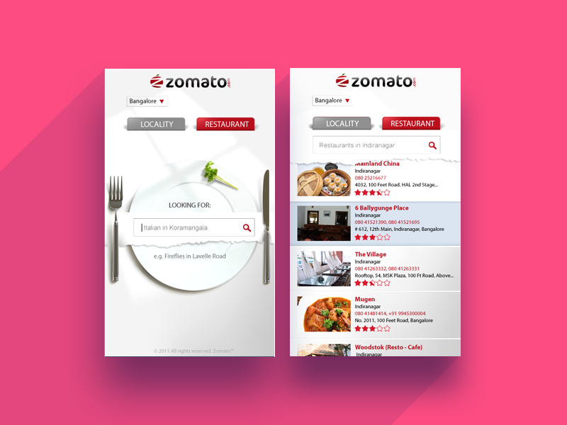 Smart TV APP zomato simple food burgundy locality search restaurant samsung tv tv app