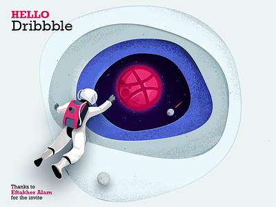 Hello Dribbble :) planets galaxy concept art dribbbleshot photoshop illustration astronaut universe space hello debut