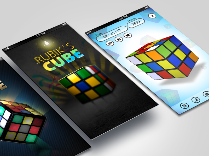 Rubik's Cubic app ux phone windows app brainy rubiks puzzle game dark ui cube