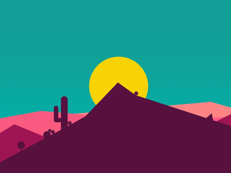 Desert Concept sunset hills cactus sun wild west illustration simple mountain desert