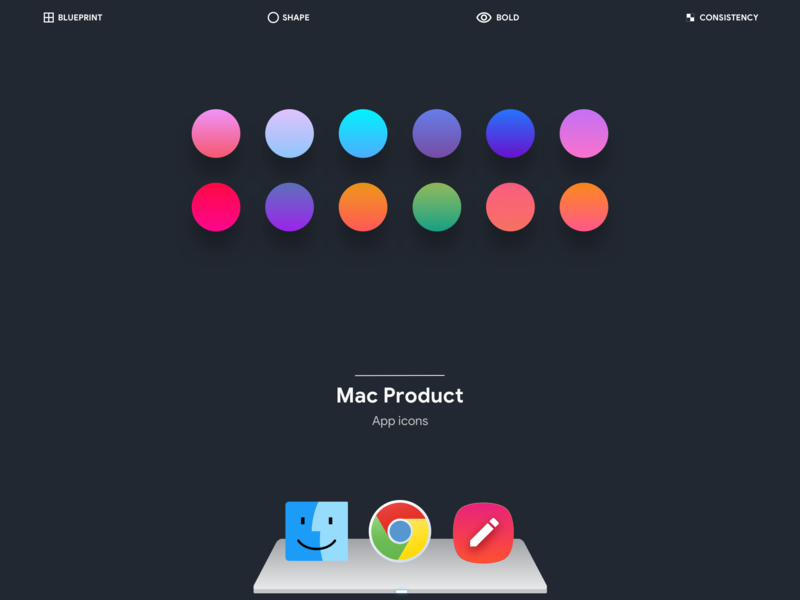 Product icons mac  win behance portfolio project visual design dark theme color pallete grid keyline template mobile apps app icons product icons