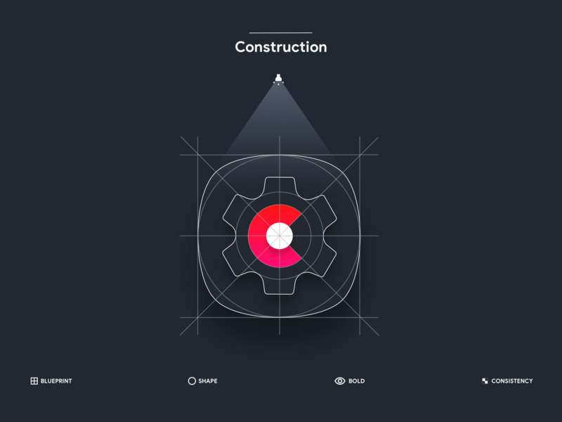 Product Icon Construction consistency bold shape grid lighting process icon contruction template design principles dark theme icon process blueprint product app icons