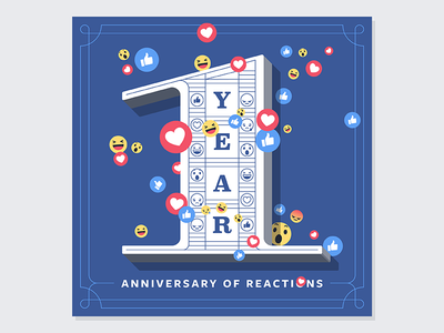 Anniversary of Reactions reactions facebook anniversary one illustration type