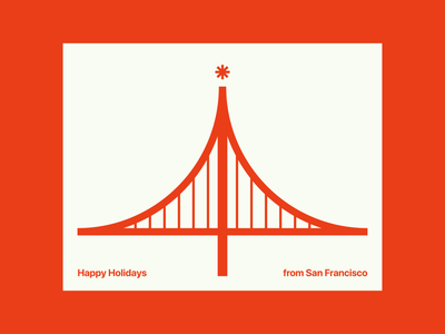 Happy Holidays from San Francisco golden gate bridge san francisco holiday card screenprinting card