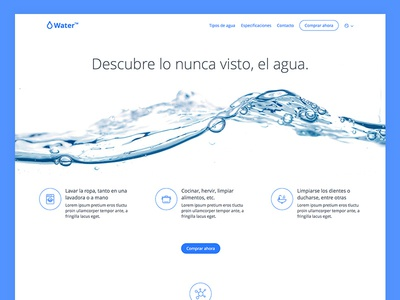 Water landing page design visual ui simple product potato minimalistic page landing clean web water
