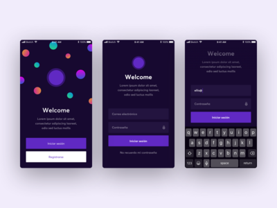 Welcome ios app sign up login onboarding welcome
