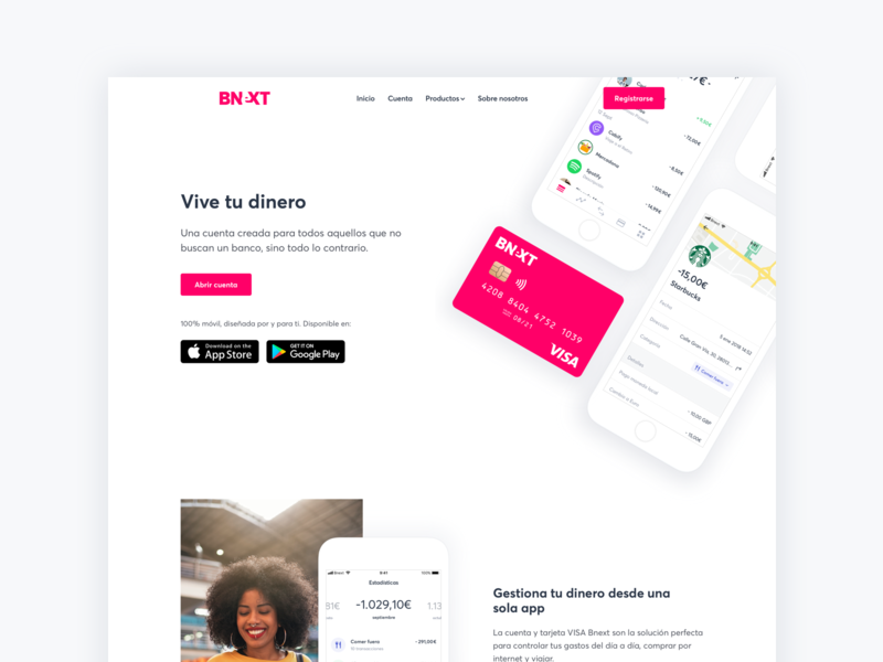 Bnext web ios app bank iphone landing page web bnext