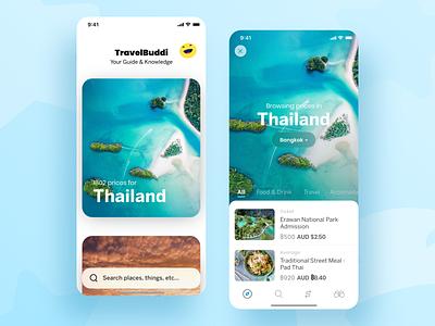 Mobile App - Travel Buddi travel uiux ui design adobe xd ios app