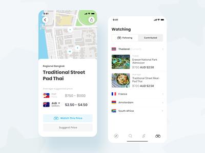 Travel Buddi - Pay like a local overseas mapbox map ios travel ui ux minimal mobile app accordion menu clean details blue