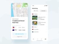 Travel Buddi - Pay like a local overseas mapbox map ios travel ui ux minimal mobile app accordion menu clean details blue