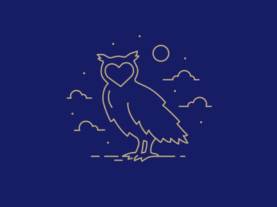 Night Owl night heart owl