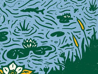 Noah's Spark - Lake Detail lily pads fish lake pines pickerel