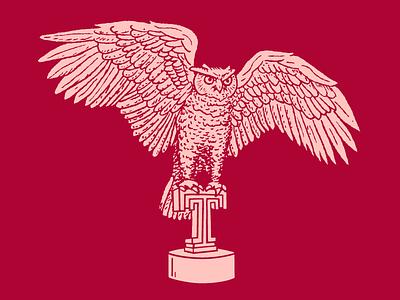 Owl Tee mascot temple illustration shirt statue owl