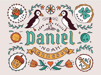 Danny Boy Birth Announcement fraktur birth illustration folk dutch pennsylvania puffin