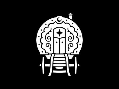 Gypsy Wagon caravan pop up traveler mystic icon logo wagon gypsy